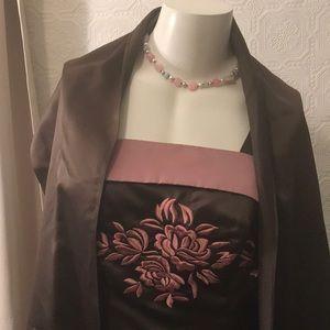 cbebb358aa0 Onyx Nite Woman Brown Evening Dress with Shaw 14W